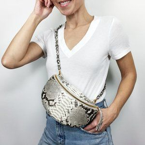 NWT Nancy Golanez Lola Python Belt Crossbody Purse